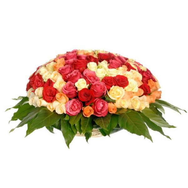 № 16 корзина из 51-ой разноцветной розы