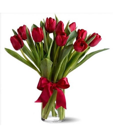 Букет из 15-ти красных тюльпанов высший сорт