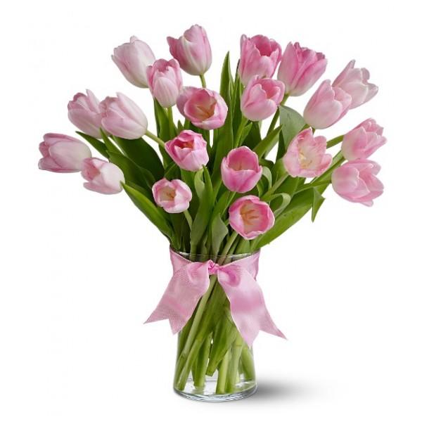Букет из 19-ти розовых тюльпанов высшего сорта