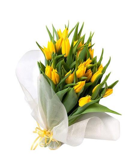 Букет из 19-ти желтых тюльпанов высшего сорта в фетре
