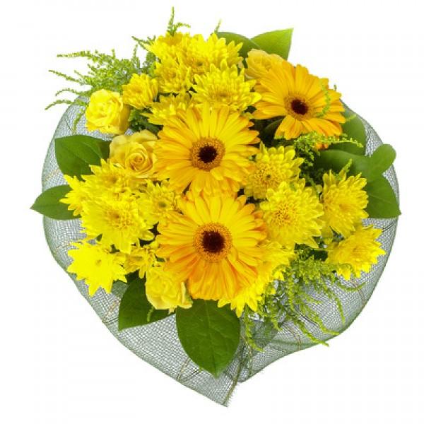 """Букет """"Солнечный день"""".  Букет из герберы, розы и хризантемы"""