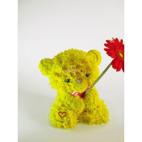 """""""Желтый медведь с герберой"""""""